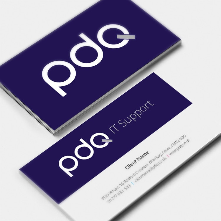 Close of business cards with PDQ logo design