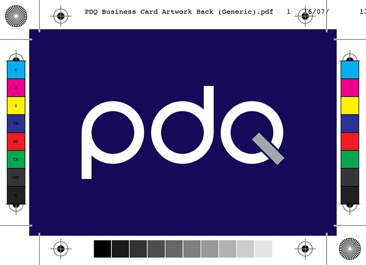 Back of PDQ business card artwork with bleed showing PDQ branding