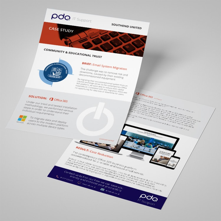Case study leaflet print design for PDQ