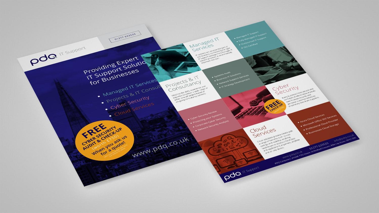 Leaflet front and back promotional design for PDQ