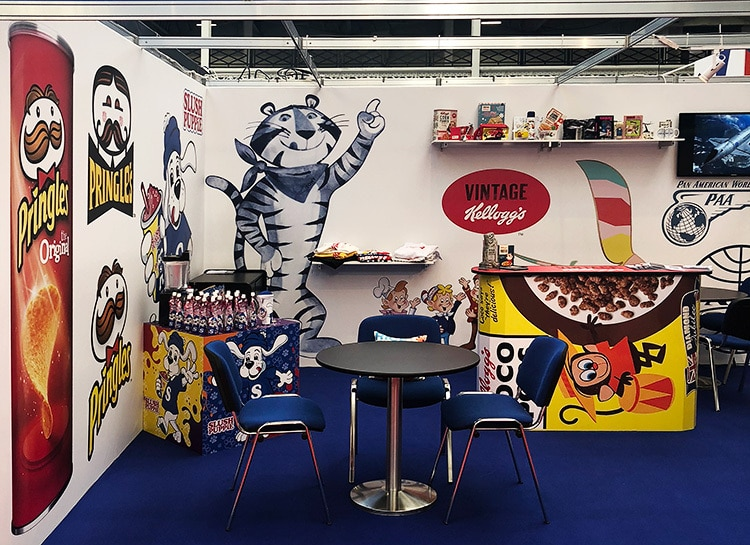 Pink Key Exhibition final design with Vintage Kellogs characters stand