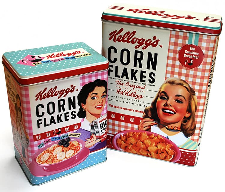 Close up of Vintage Kellogs cornflakes tins photography for Pink Key
