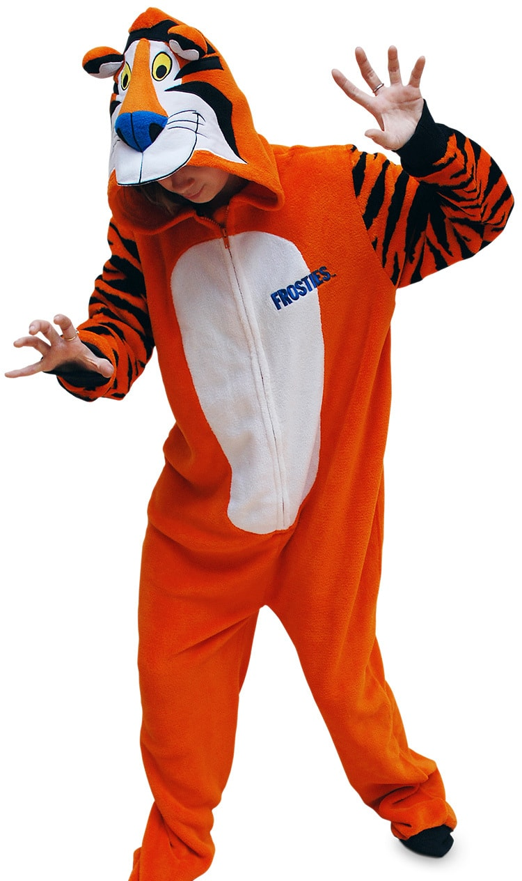 A person wearing Tony the Tiger Kellogs character onesie in funny pose photography for Pink Key