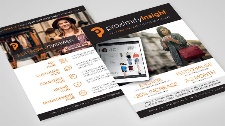 Proximity Insight A5 leaflet design advertising their platform