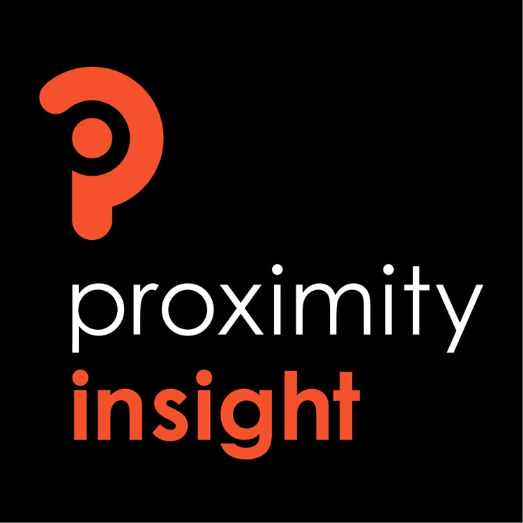 Portrait Proximity Insight branding design stacked reversed black background