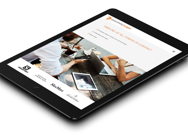 Tablet laying flat showing the responsive website design for Proximity Insight