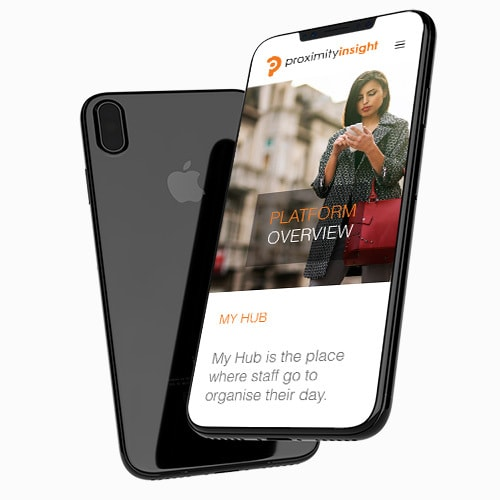 Floating front and back of mobile phone displaying Proximity Insight responsive website design