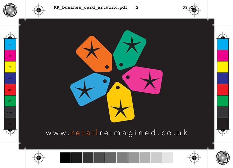 Back of Retail Reimagined business card design artwork with bleed