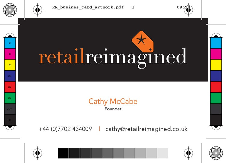 Front of Retail Reimagined business card design artwork with bleed