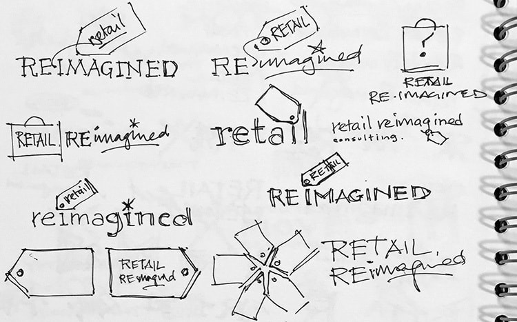 Retail Reimagined concept logo design sketches for branding design