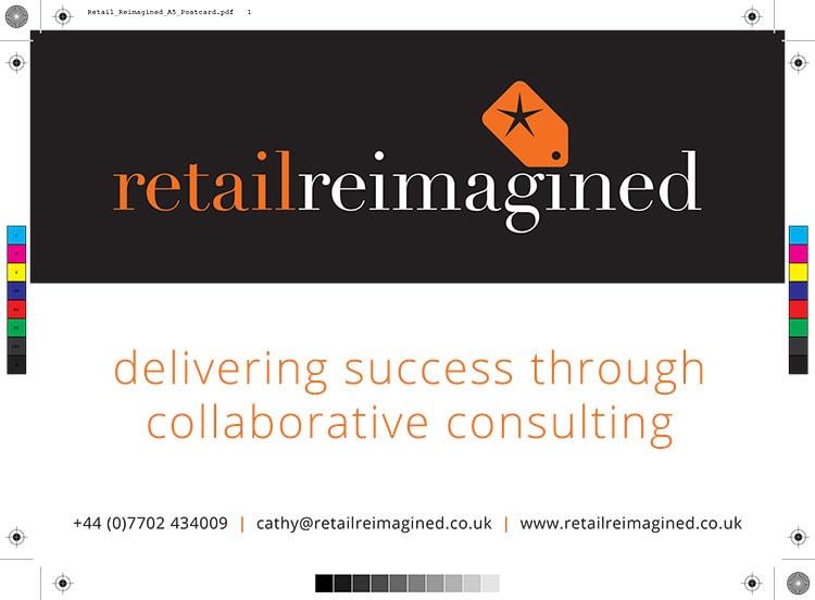 A5 postcard print design front artwork for Retail Reimagined