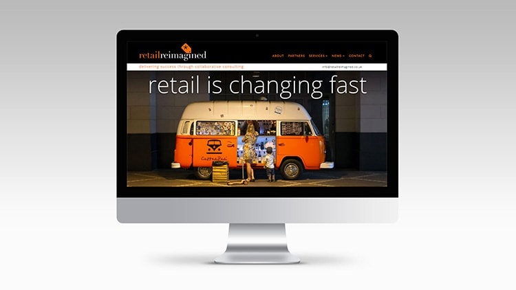Homepage of Retail Reimagined for Website design