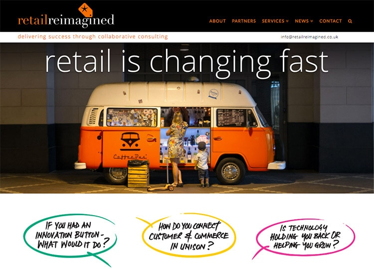 Flat homepage design for Retail Reimagined website