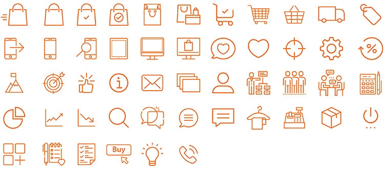 Set of web icons designed for Retail Reimagined website