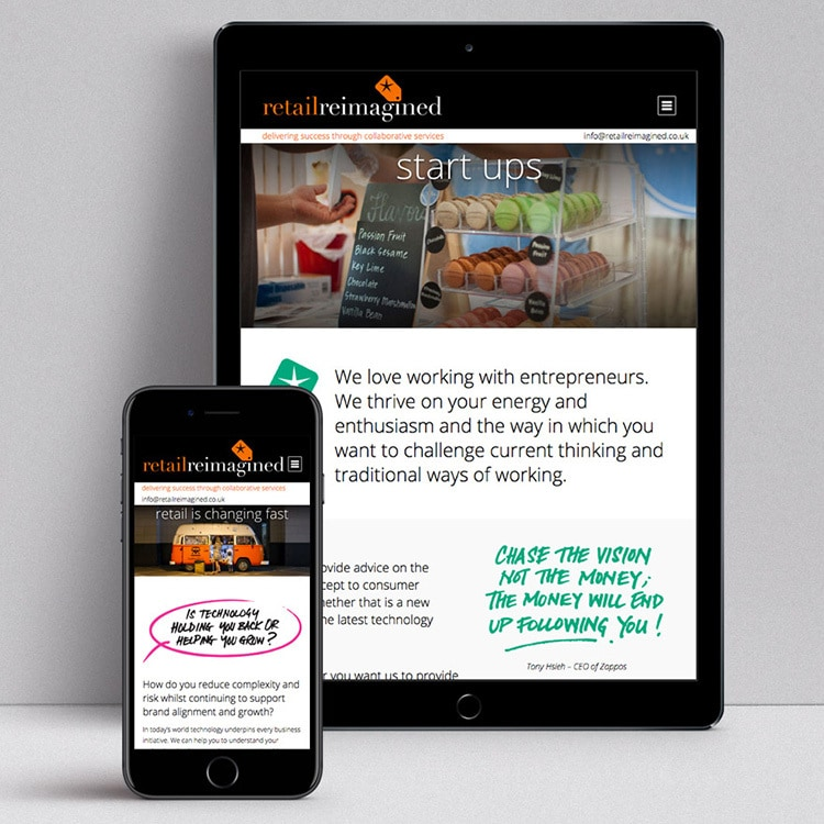 Retail Reimagined responsive website design displayed on mobile and tablet devices Thumbnail