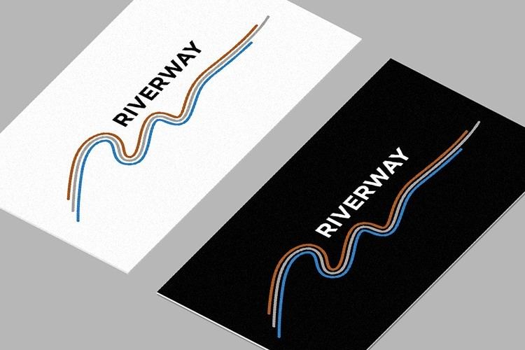 Front and back of Riverway branded business cards design