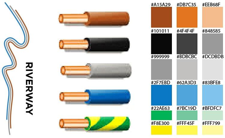 Riverway branding design colour schemes