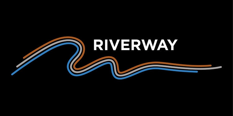 3 elegant different coloured lines flowing under the Riverway text Riverway reversed logo design
