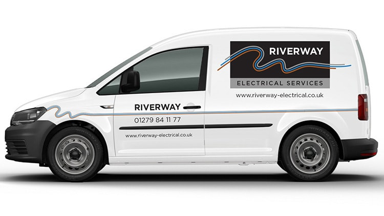 VW white van with Riverway Electrical branding design vinyl and 3 different coloured lines running across the van