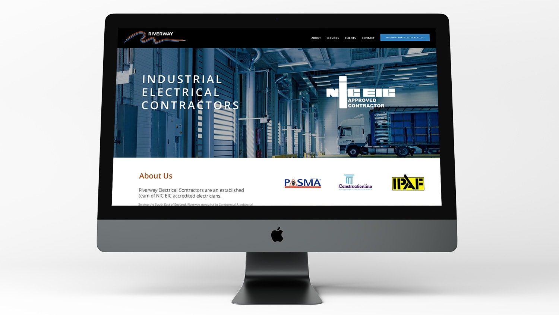 Riverway Electrical website design homepage displayed on a Desktop computer