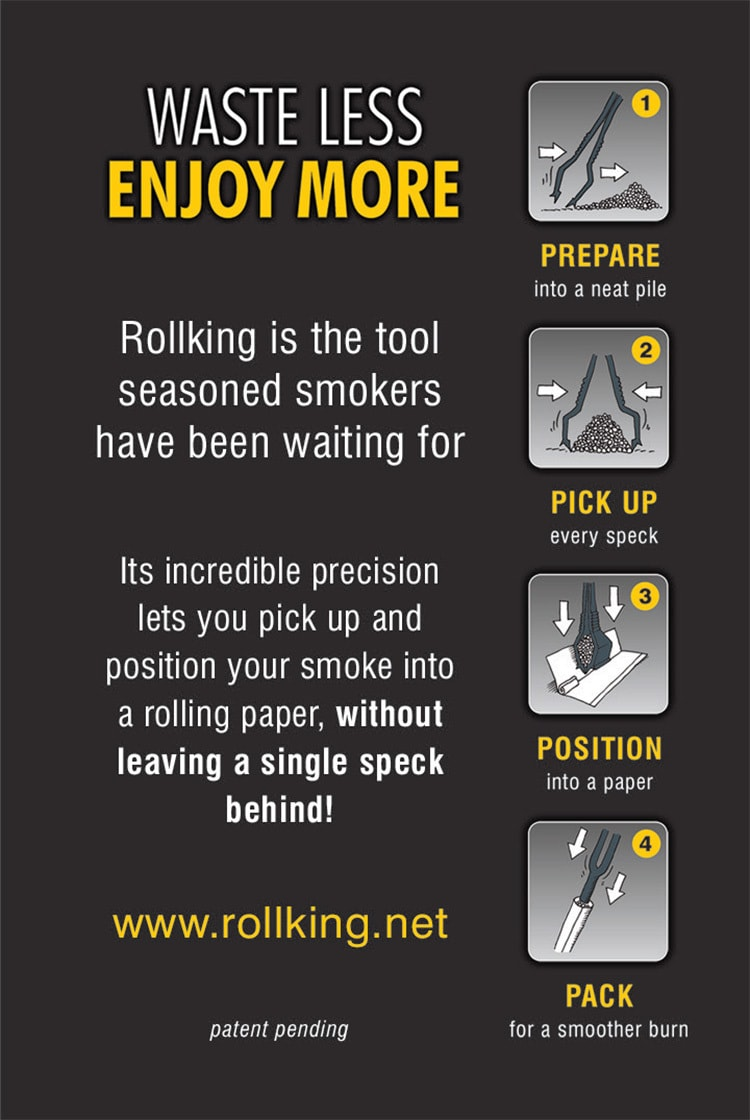 Rollking back product card with UV layers showing the step illustrated process