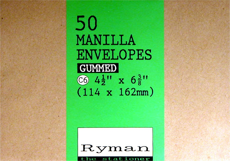 Front of Ryman Manilla envelopes label design
