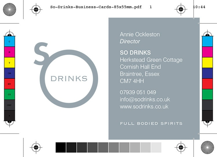 So Drinks front business card design