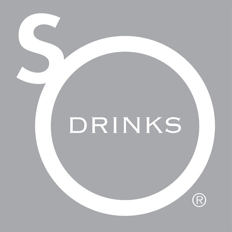 Reversed So Drinks logo design grey background Registered trademark symbol