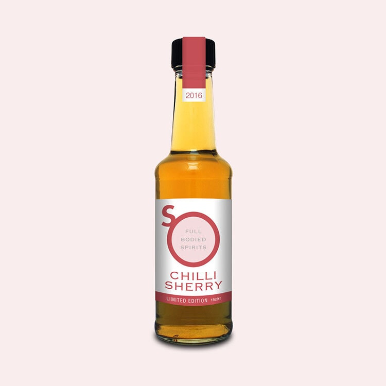 Red Chilli Sherry label design for So Drinks
