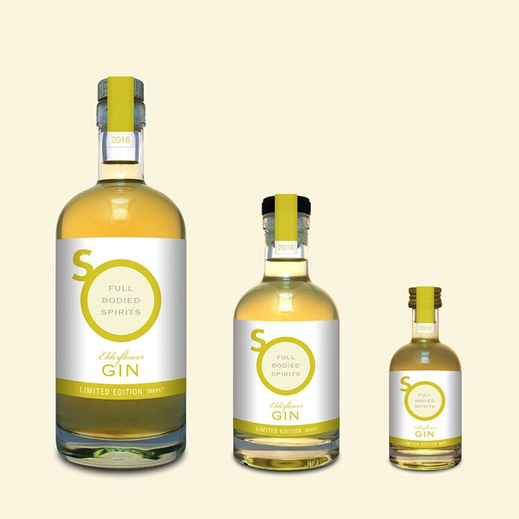 Yellow Eldeflower Gin label design with different sizes and yellow background for So Drinks