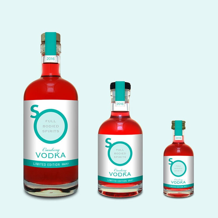 Teal Cranbury Vodka label design with different sizes and teal background for So Drinks