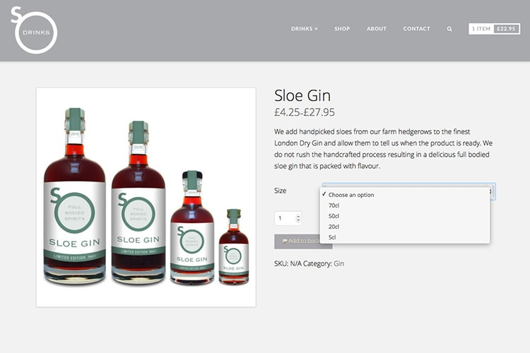Ecommerce shop page design for So Drinks website