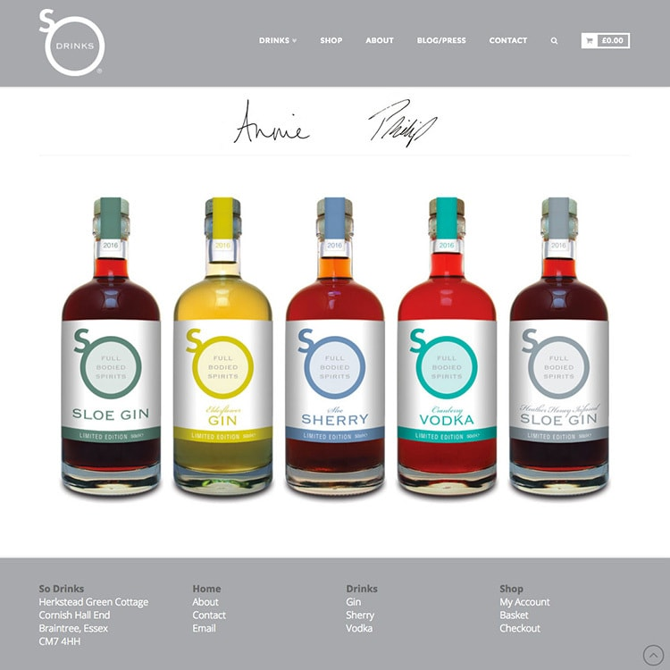 Ecommerce responsive website wireframe design for So Drinks