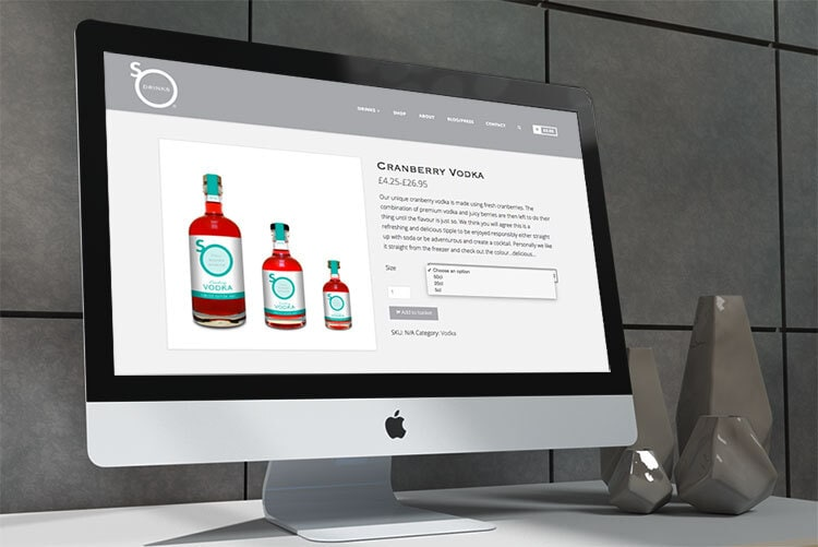 Desktop mac displaying the So Drinks responsive eCommerce website design