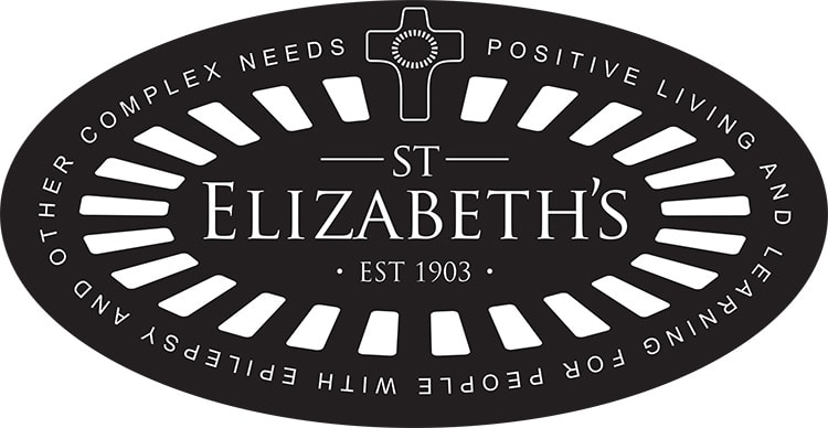 Reversed St Elizabeths with cross and outline with strapline branding design