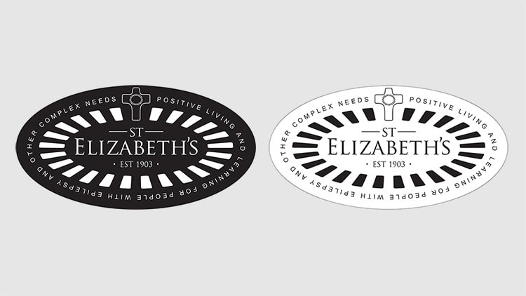 Reversed and non-reversed St Elizabeths with cross and outline with strapline branding design