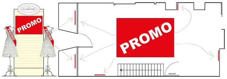 Retail design plan for St Elizabeths retail promotion POS graphic design