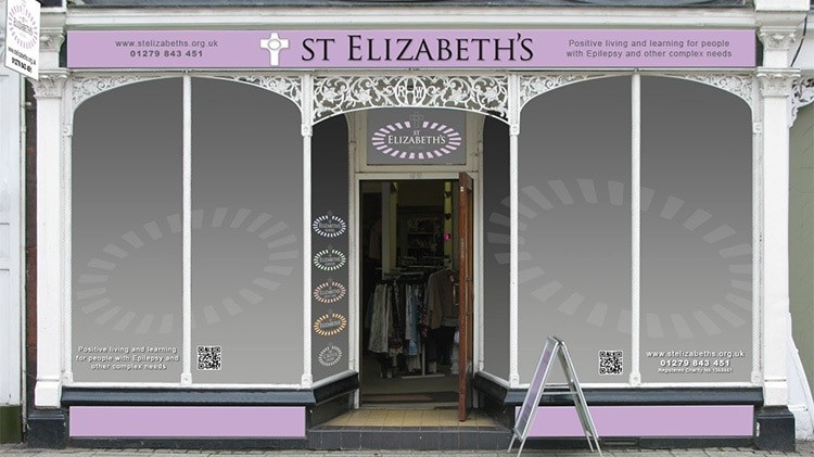 Shopfront design with window treatment for Ware St Elizabeth's shop