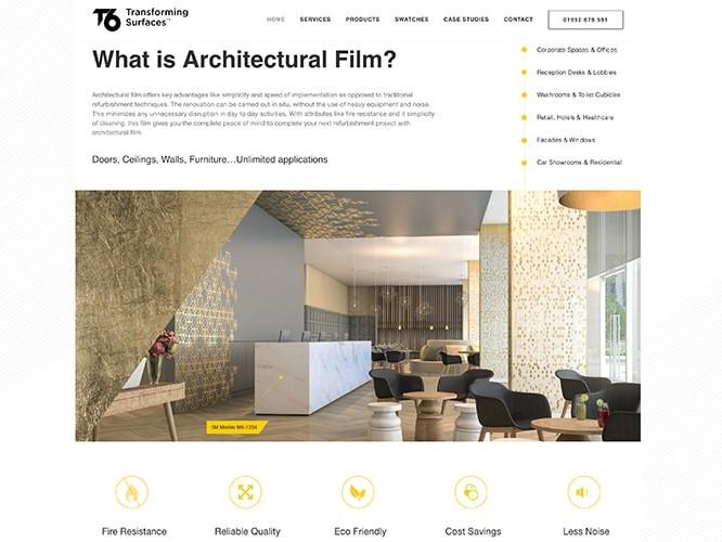 Homepage flat of the T6 responsive website design in desktop view