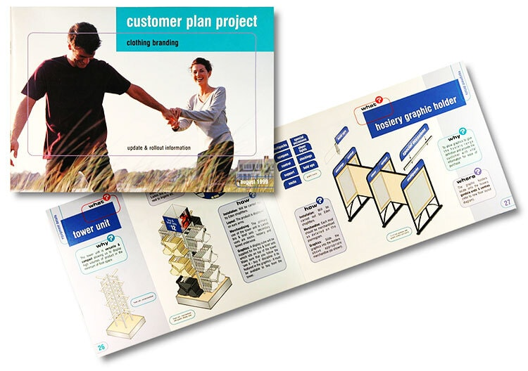 Customer plan project clothing branding brochure print design for Tesco