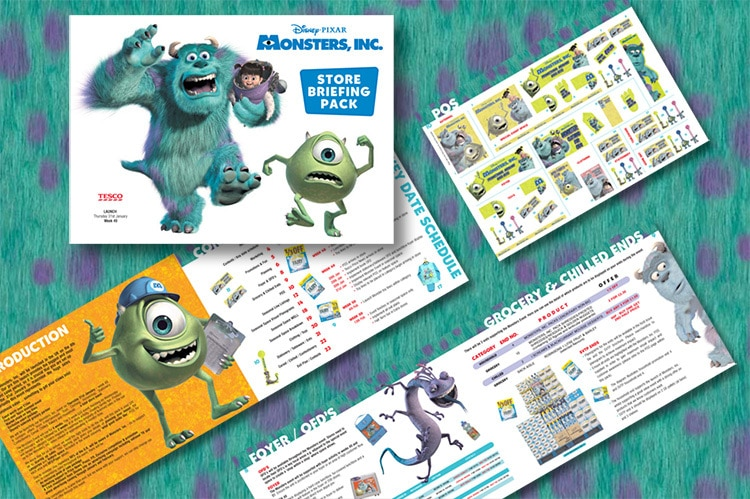 Monsters Inc. briefing pack brochure front cover and open spreads print design for Tesco