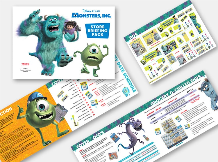 Monsters Inc. briefing pack brochure front cover and open spreads POS print design for Tesco