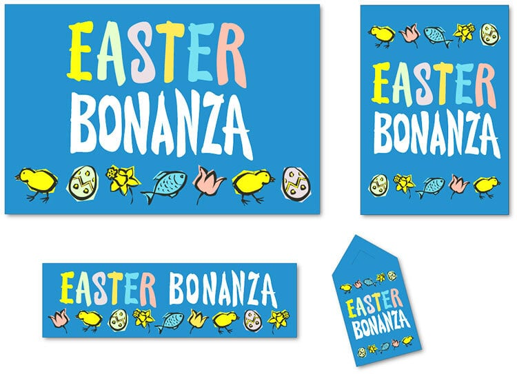 Easter Bonanza promotional design materials for Tesco retail stores