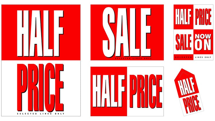 Half Price promotional design materials for Tesco retail stores