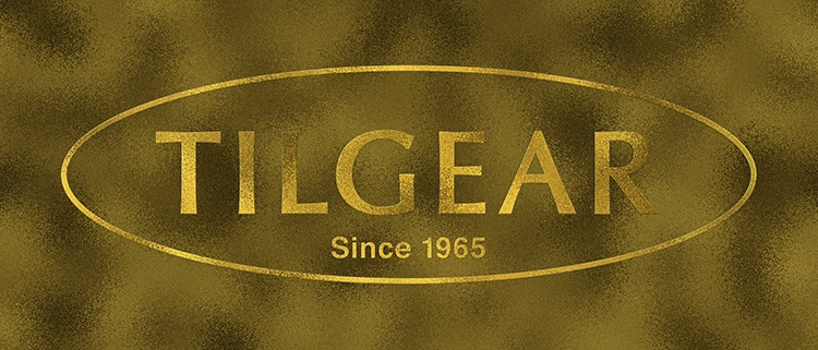 3D Tilgear logo design with a gold foil finish