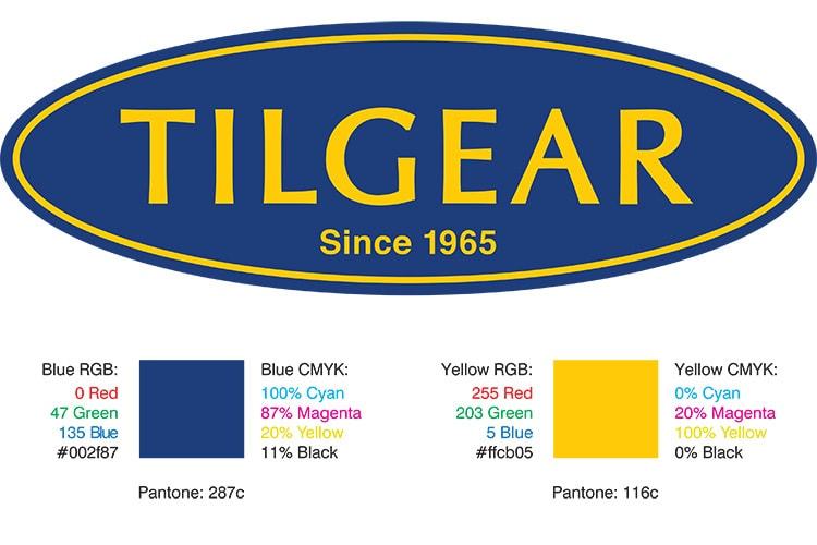 Corporate Colours specification sheet for Tilgear Branding Design