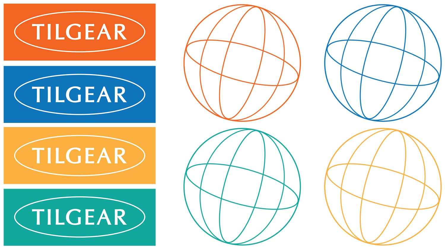 Tilgear Branding Design and globe symbol in different colour variations