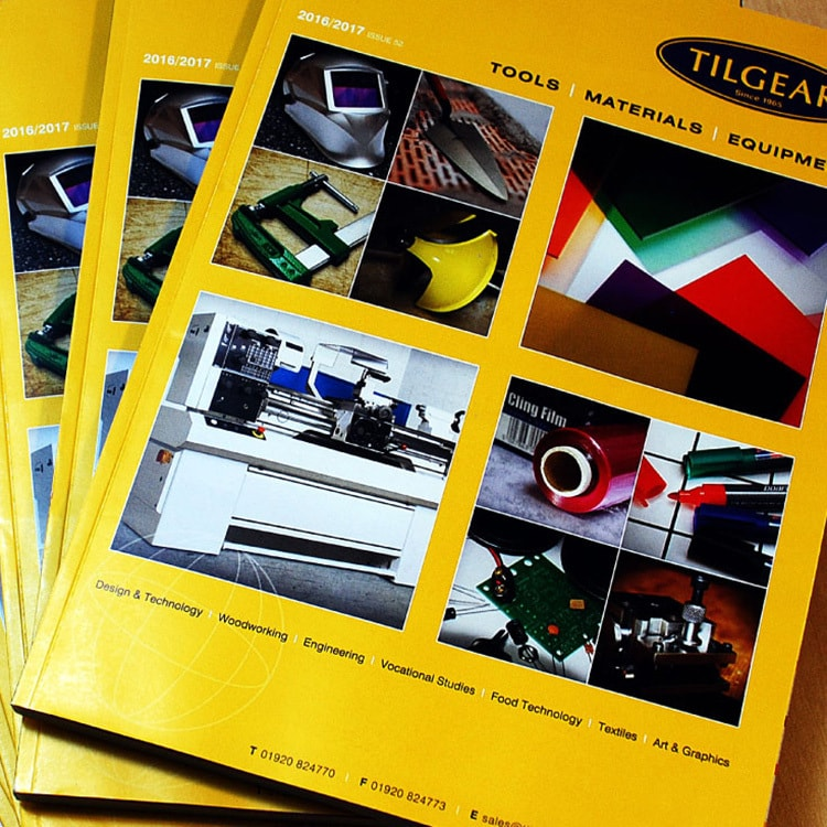 Front cover of Tilgear brochure design stacked