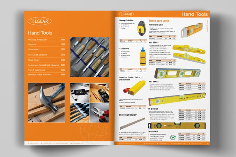 An open spread showing hand tools section of Tilgear brochure