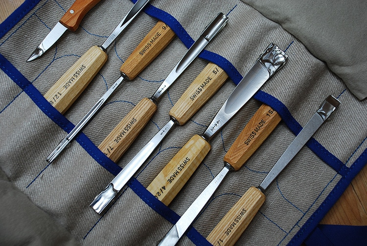 Retouched and enhanced photography of chisels hand tools for Tilgear
